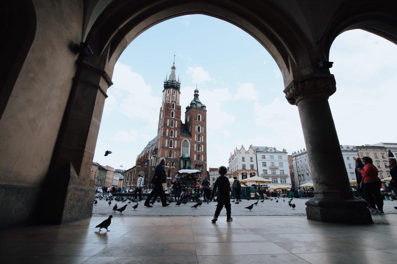 Praça principal da Cracóvia na Polônia